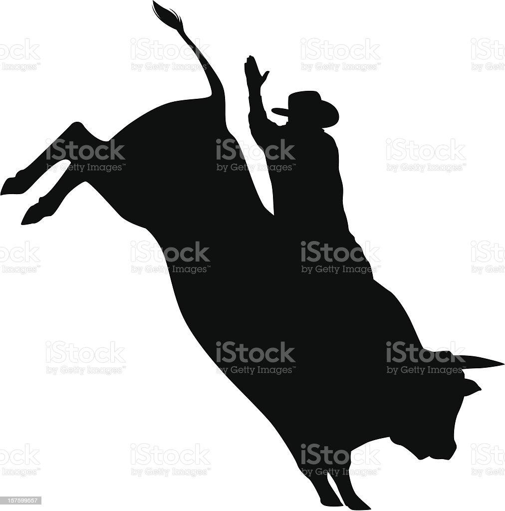 Bullrider silhouette vector art illustration