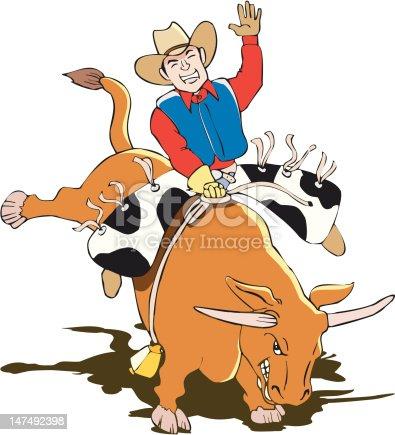 Bullriding Cowboy in EPS, Corel Vector format
