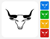 Bull's Head Icon. This 100% royalty free vector illustration features the main icon pictured in black inside a white square. The alternative color options in blue, green, yellow and red are on the right of the icon and are arranged in a vertical column.