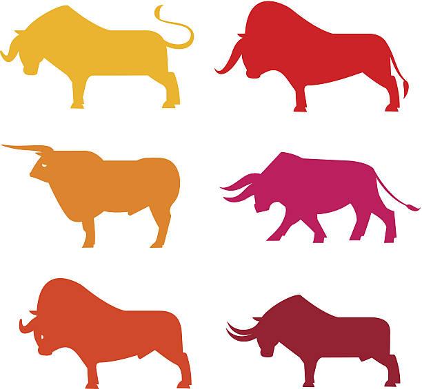 Bulls Set vector art illustration