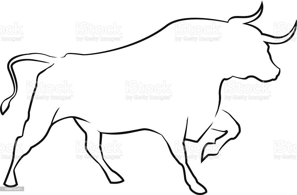 Bull's silhouette vector art illustration