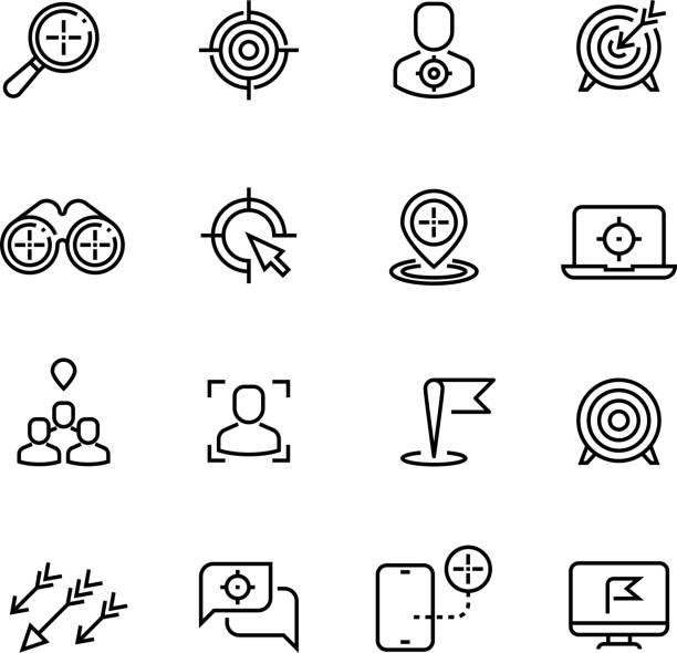 Bullseye, customer focus and targeting line vector icons Bullseye, customer focus and targeting line vector icons. Success bullseye, arrow accuracy in dartboard illustration focus stock illustrations