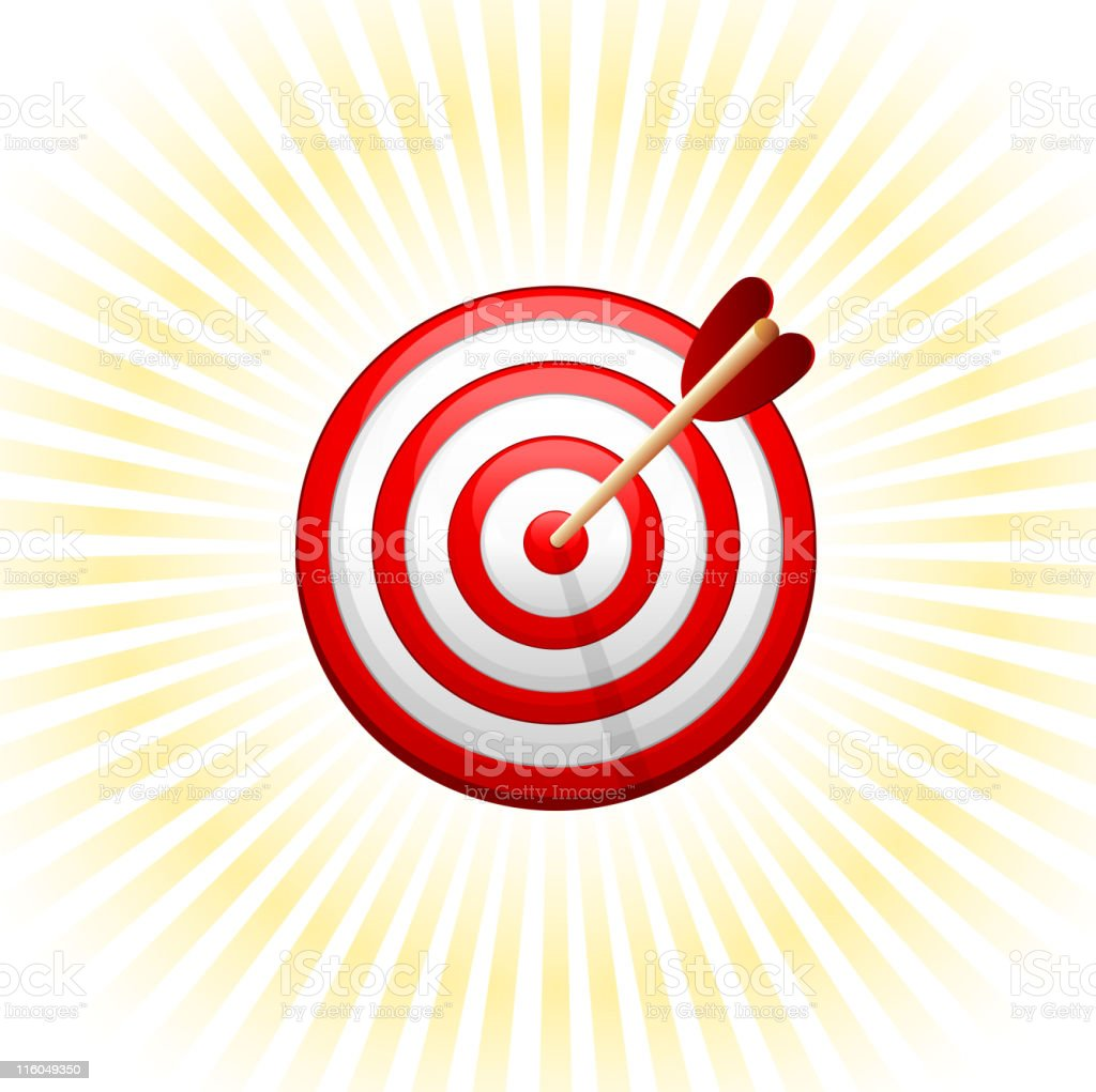 Bull's-Eye target with arrow on glow Background royalty-free bullseye target with arrow on glow background stock vector art & more images of accuracy