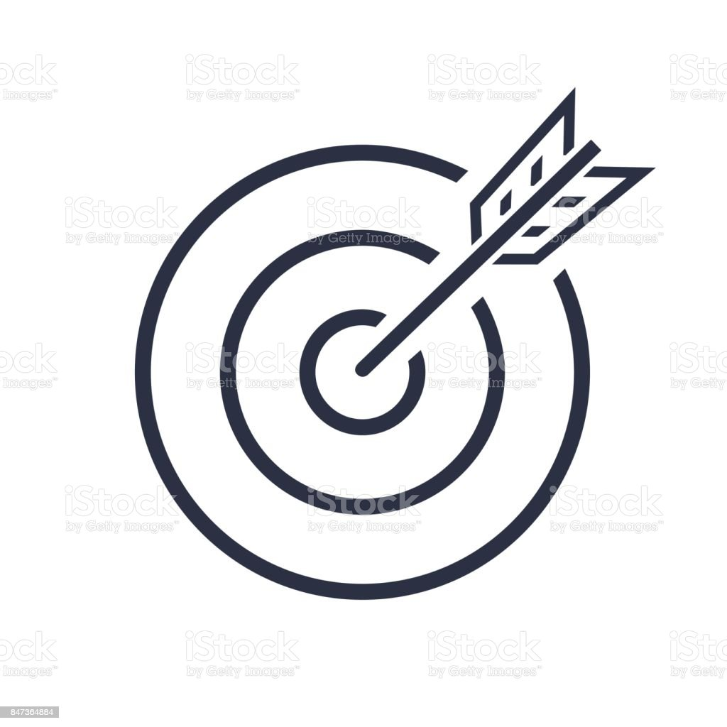Bullseye Vector Icon. target . successful shot in the darts shot. isolated on white background. Business concept symbol