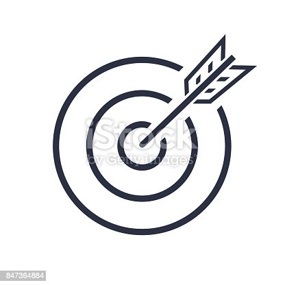 Bullseye Vector Icon. target . successful shot in the darts shot. isolated on white background. vector illustration - stock vector. Business concept symbol