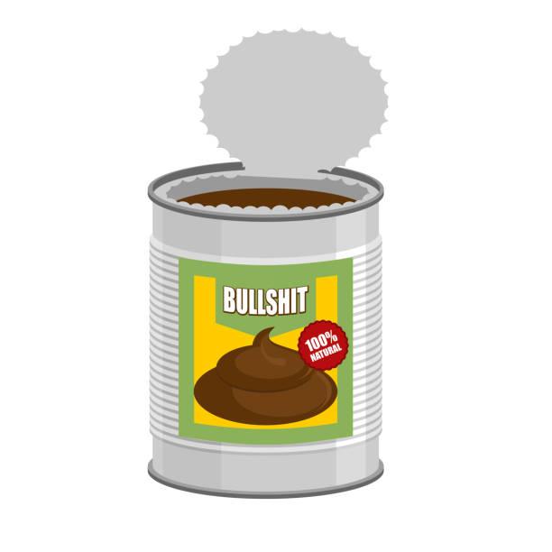 bullshit. Open a tin can with shit. Nonsense in Bank Bullshit. Open a tin can with shit. Nonsense in Bank. Vector illustration bull poop stock illustrations