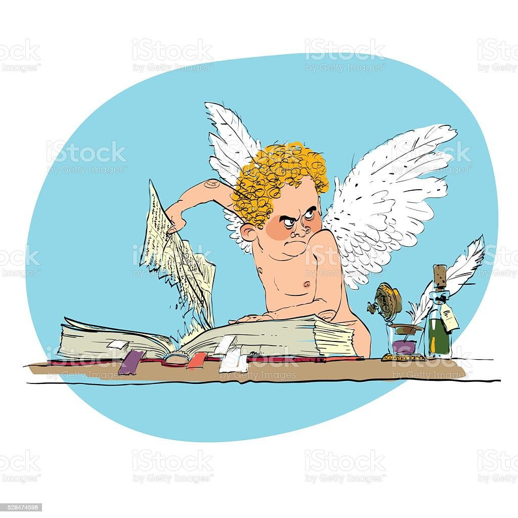 Bully angel pulls out the book page vector art illustration
