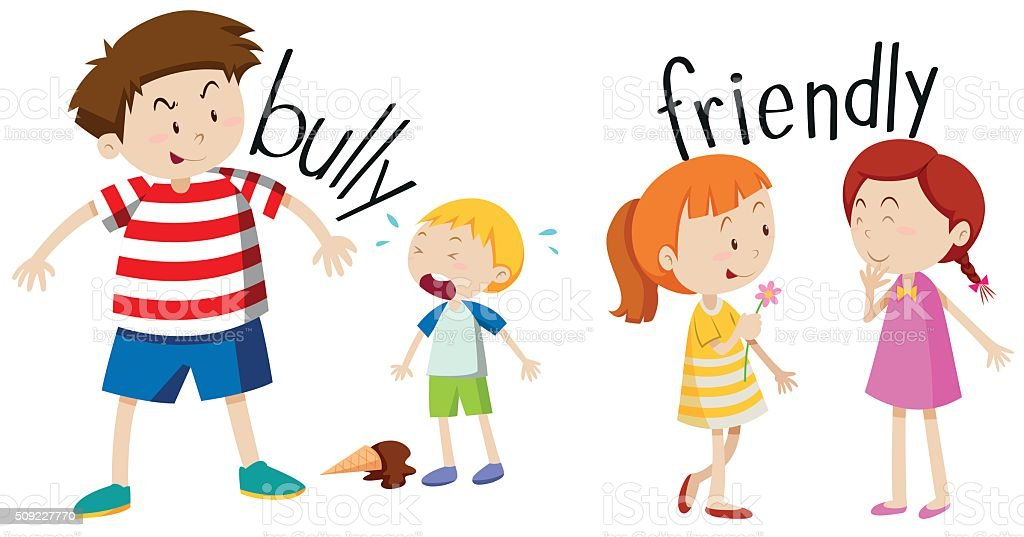royalty free clip art of a kids getting bullied clip art vector rh istockphoto com friendly clipart black and white clipart friendly reminder