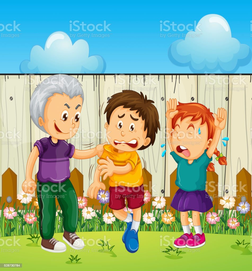 Bully Boy Picking Up On Other Kids Stock Illustration - Download