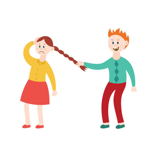 ilustrações de stock, clip art, desenhos animados e ícones de bully boy pulling girl's hair - puxar cabelos