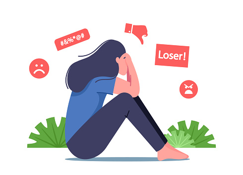 Bullying in Social Media, Bulling Abuse and Harassment Concept. Female Character Sitting with Covered Face Crying