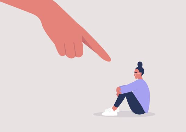 mobbing, zeigefinger, hass, sexismus, traurige weibliche figur umarmt ihre knie, aggression - häusliche gewalt stock-grafiken, -clipart, -cartoons und -symbole