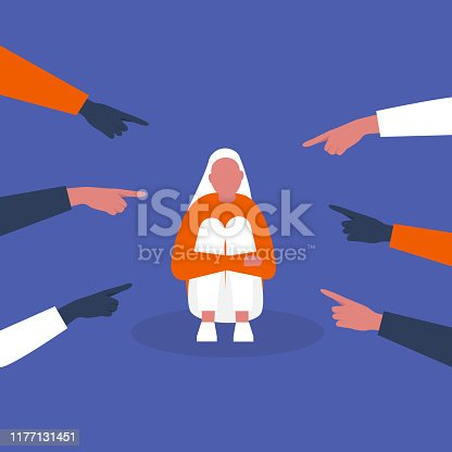 Bullying. Pointing fingers. Haters. Sexism. Crowd. Sad character hugging his knees. Aggression. Modern society. Flat editable vector illustration, clip art