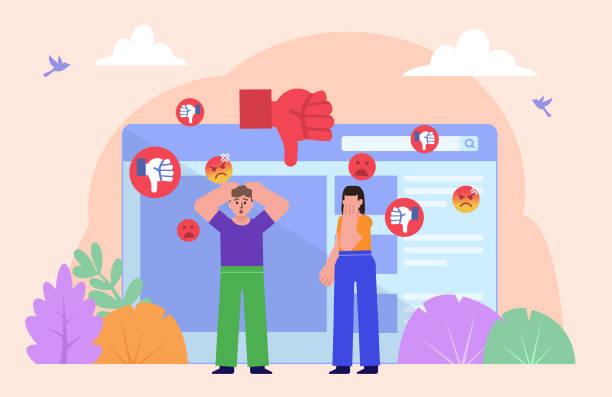 mobbing, trolling oder belästigung im internet, im internet. mann und frau stehen in der nähe von webseite umgeben von abneigungen - feedback stock-grafiken, -clipart, -cartoons und -symbole