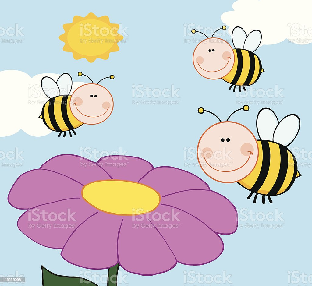 Bumble Bees Flying Over Flower royalty-free stock vector art
