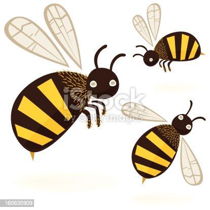 Cartoon flying Honey Bees isolated on white background.