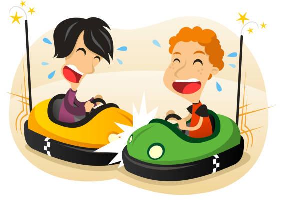 bildbanksillustrationer, clip art samt tecknat material och ikoner med bumper car fun - krockad bil