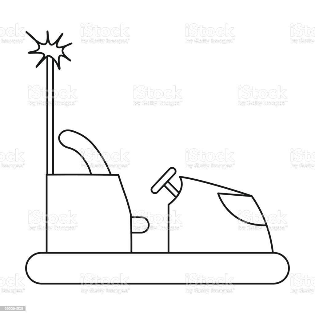 Icono de coche de parachoques de contorno estilo aislado sobre fondo blanco. Ilustración de símbolo de jardín stock vector de jugar. - ilustración de arte vectorial