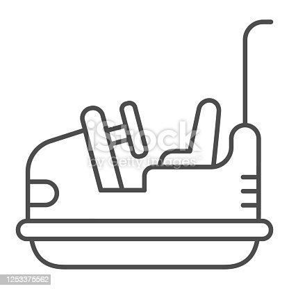 Bumper car thin line icon, Amusement park concept, Electric machine for racetrack sign on white background, Attraction Dodgem icon in outline style for mobile concept and web. Vector graphics
