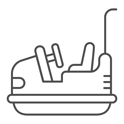 Bumper car thin line icon, Amusement park concept, Electric machine for racetrack sign on white background, Attraction Dodgem icon in outline style for mobile concept and web. Vector graphics.