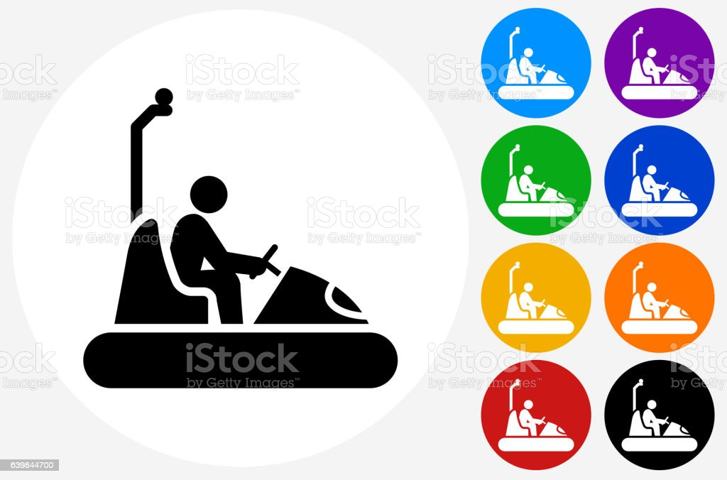 Bumper Cars Icon on Flat Color Circle Buttons - ilustración de arte vectorial