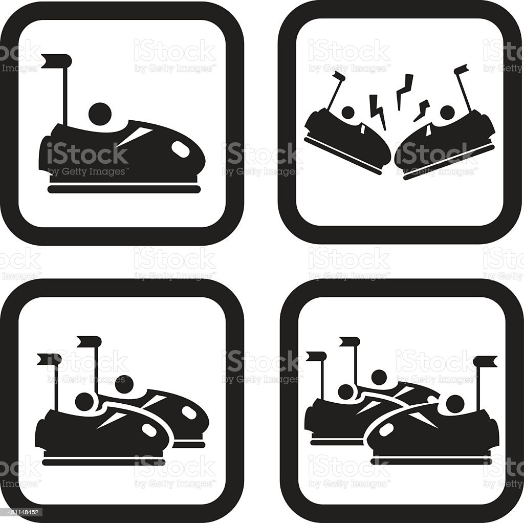 Parachoques de vehículos o dodgem icono en cuatro variaciones - ilustración de arte vectorial