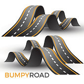 Bumpy road icon uneven dangerous wave path with marking vector