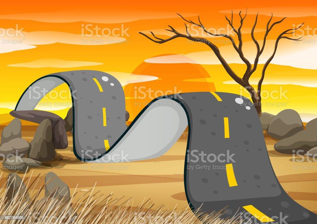 Bumpy road in the field vector art illustration