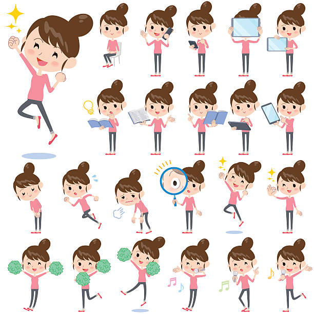Bun hair mom Pants style 2 vector art illustration