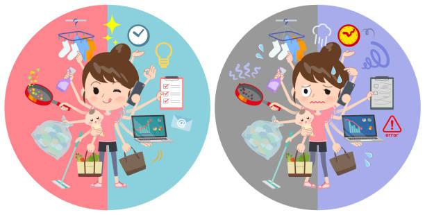 ilustrações de stock, clip art, desenhos animados e ícones de bun hair mom sportswear_mulch task switch - fail cooking