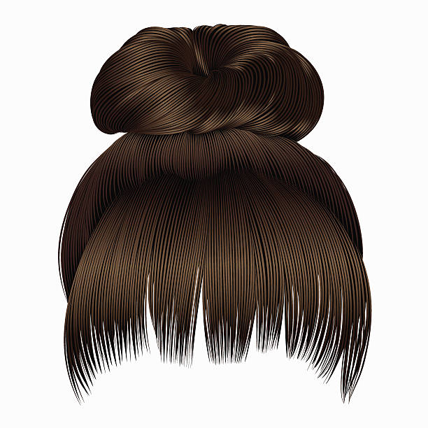 bun  hairs with fringe dark  brown colors . women fashion  style . - brown hair stock illustrations