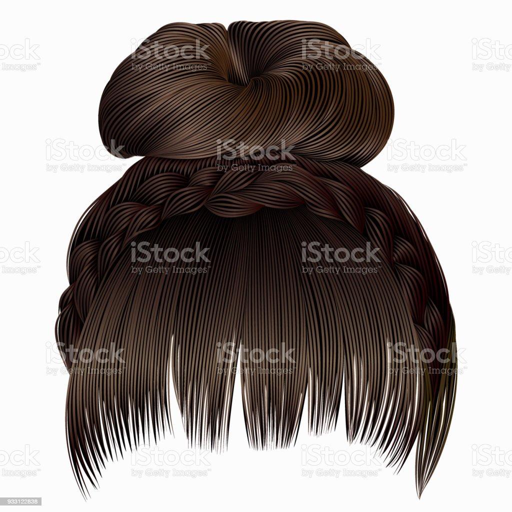 Brötchen Mit Zopf Und Fransen Haare Braun Helle Farben