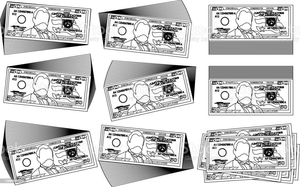 Bunch of 50 US dollar banknote outline set vector art illustration