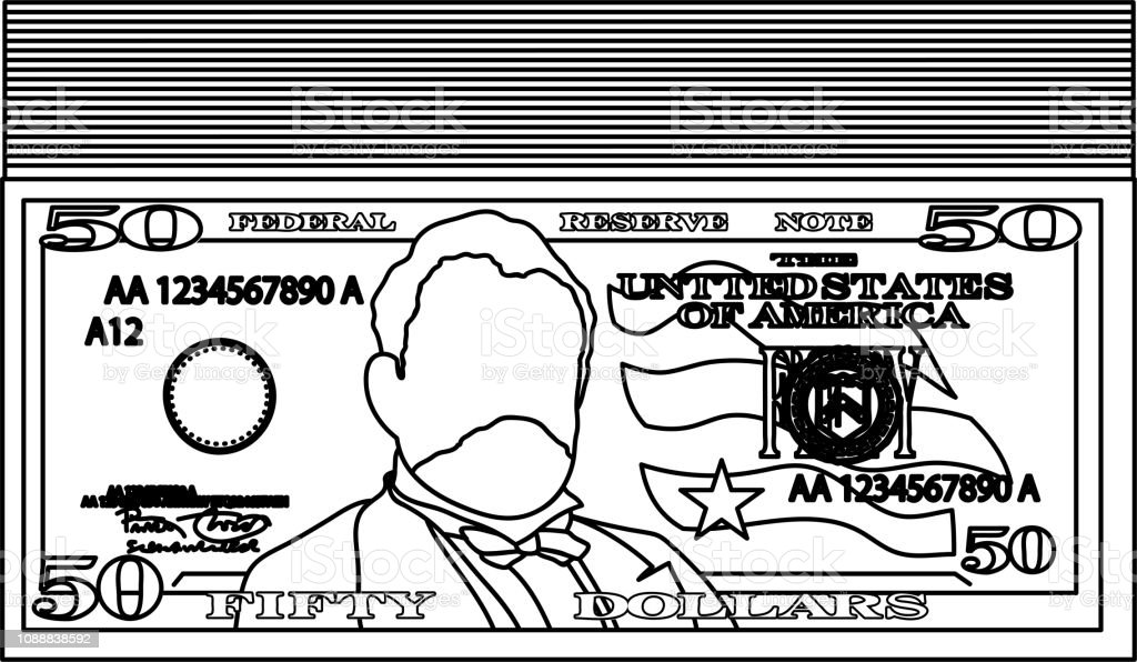 Bunch of 50 US dollar banknote outline vector art illustration