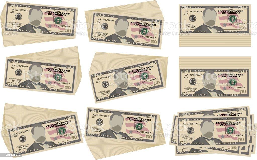 Bunch of 50 US dollar banknote set vector art illustration