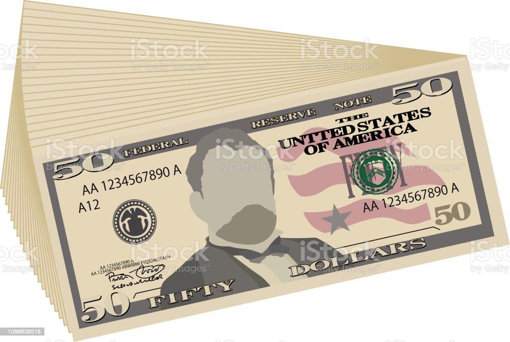 Bunch of 50 US dollar banknote vector art illustration