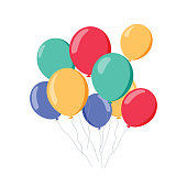 Bunch of air balloons, group of ball with ribbon isolated on white background. Colorful. Happy Birthday, holidays, party concept. Vector flat illustration. Celebration or grand opening concept.