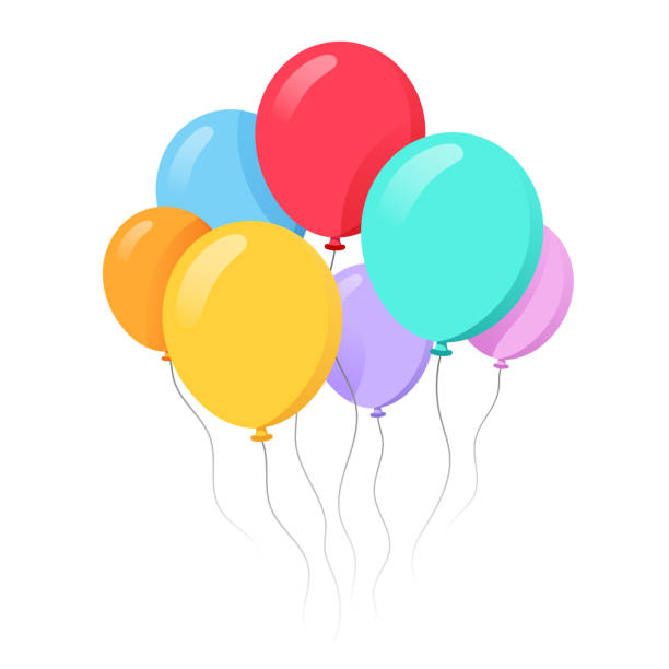 stockillustraties, clipart, cartoons en iconen met stelletje ballonnen in cartoon platte stijl geïsoleerd op witte achtergrond voorraad illustratie - ballon