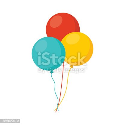 istock Bunch of balloons in cartoon flat style isolated on white background 666620128