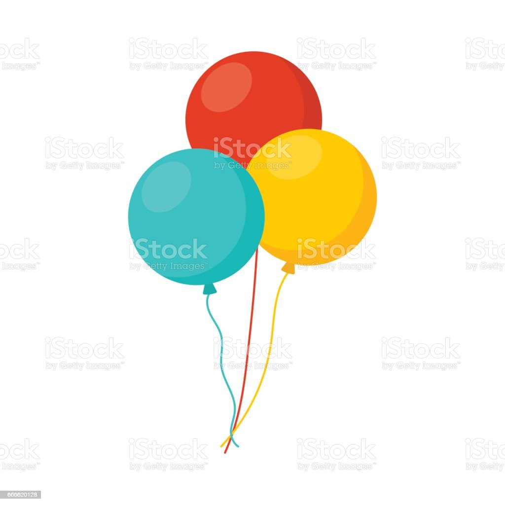 Bunch of balloons in cartoon flat style isolated on white background vector art illustration