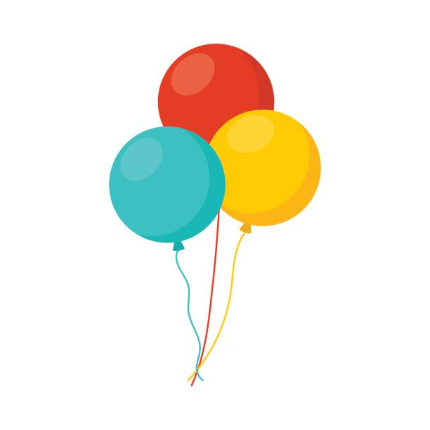 bunch of balloons in cartoon flat style isolated on white background - anniversary clipart stock illustrations