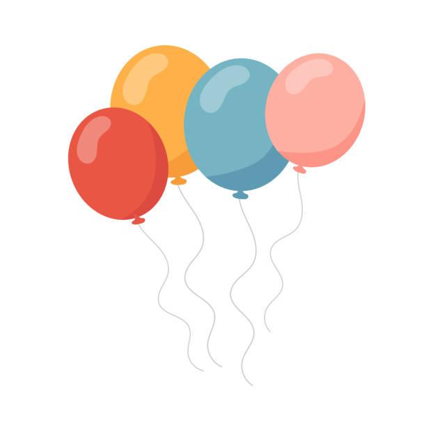 haufen luftballons im cartoon-stil flache isoliert auf weißem hintergrund. - ballon stock-grafiken, -clipart, -cartoons und -symbole