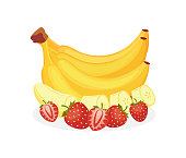 Bunch of bananas decorated with strawberry, flat cartoon vector illustration isolated on white background. Design for banana and strawberry flavored food packaging.