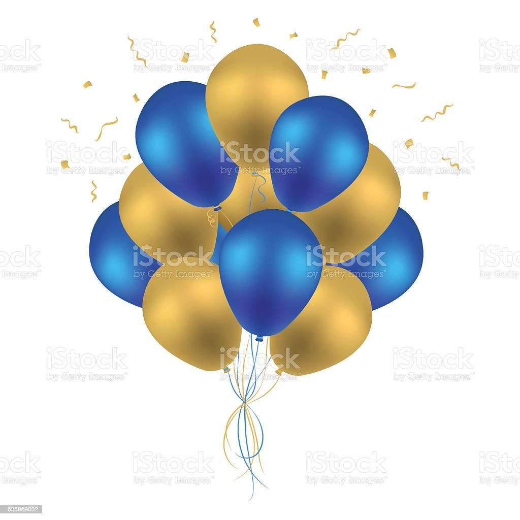 Bunch of Birthday Balloons. Colorful Blue and Golden Balloon Vector. vector art illustration