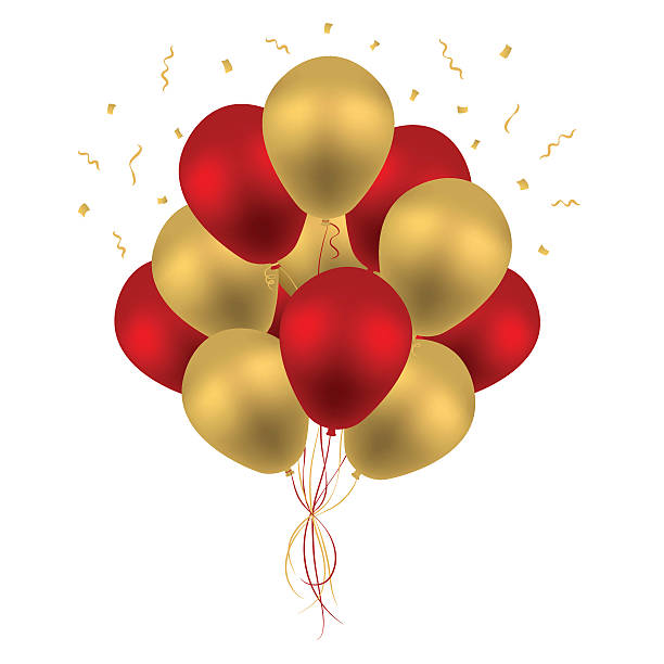royalty free red and gold balloons clip art vector images