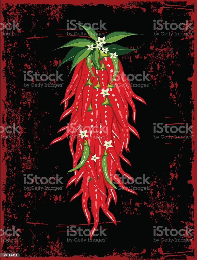 Bunch of chili peppers on grungy background royalty-free stock vector art