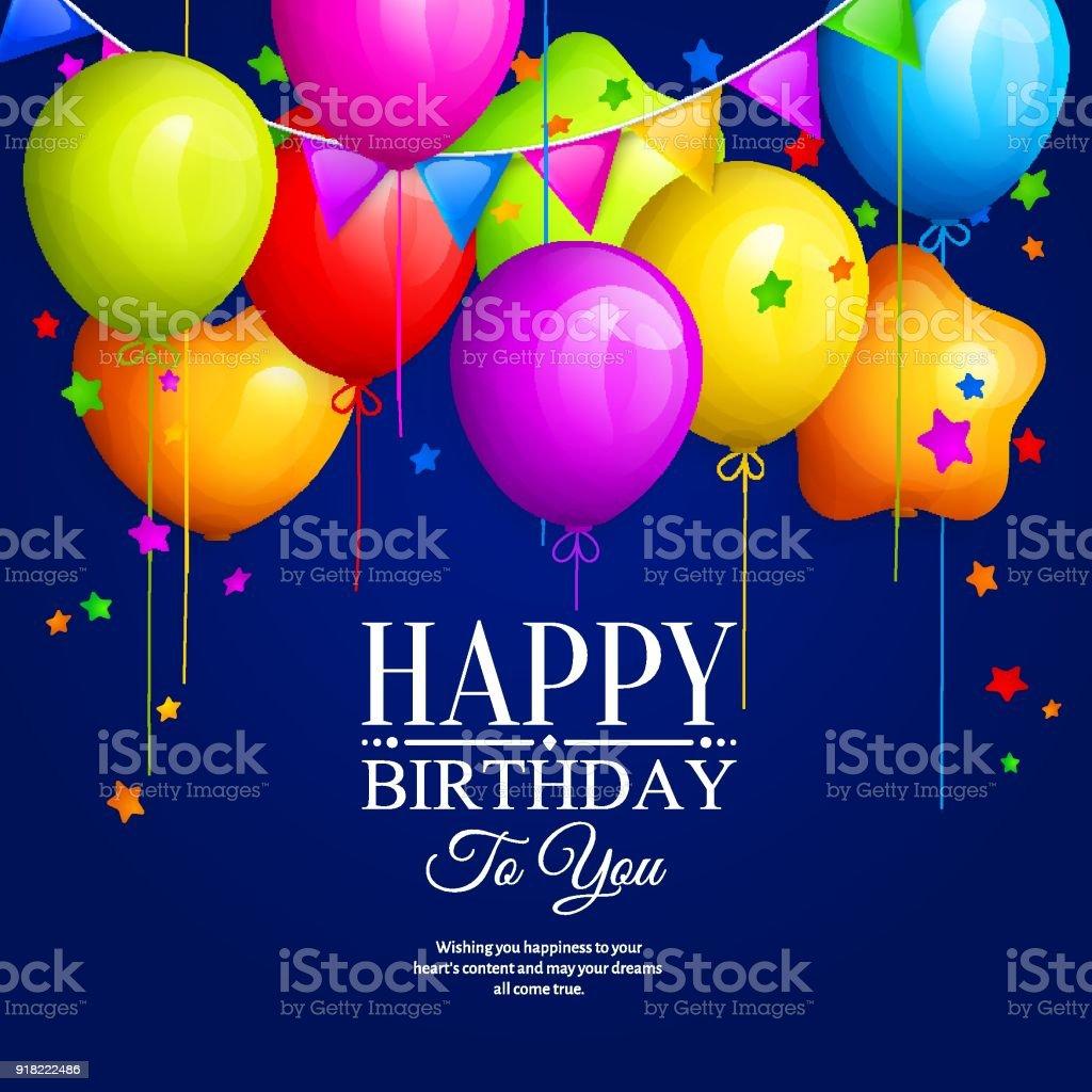 Mavi arka plan üzerinde renkli doğum günü balonları yıldız ve renkli kirazkuşları bayrakları ile demet. Vektör. vektör sanat illüstrasyonu