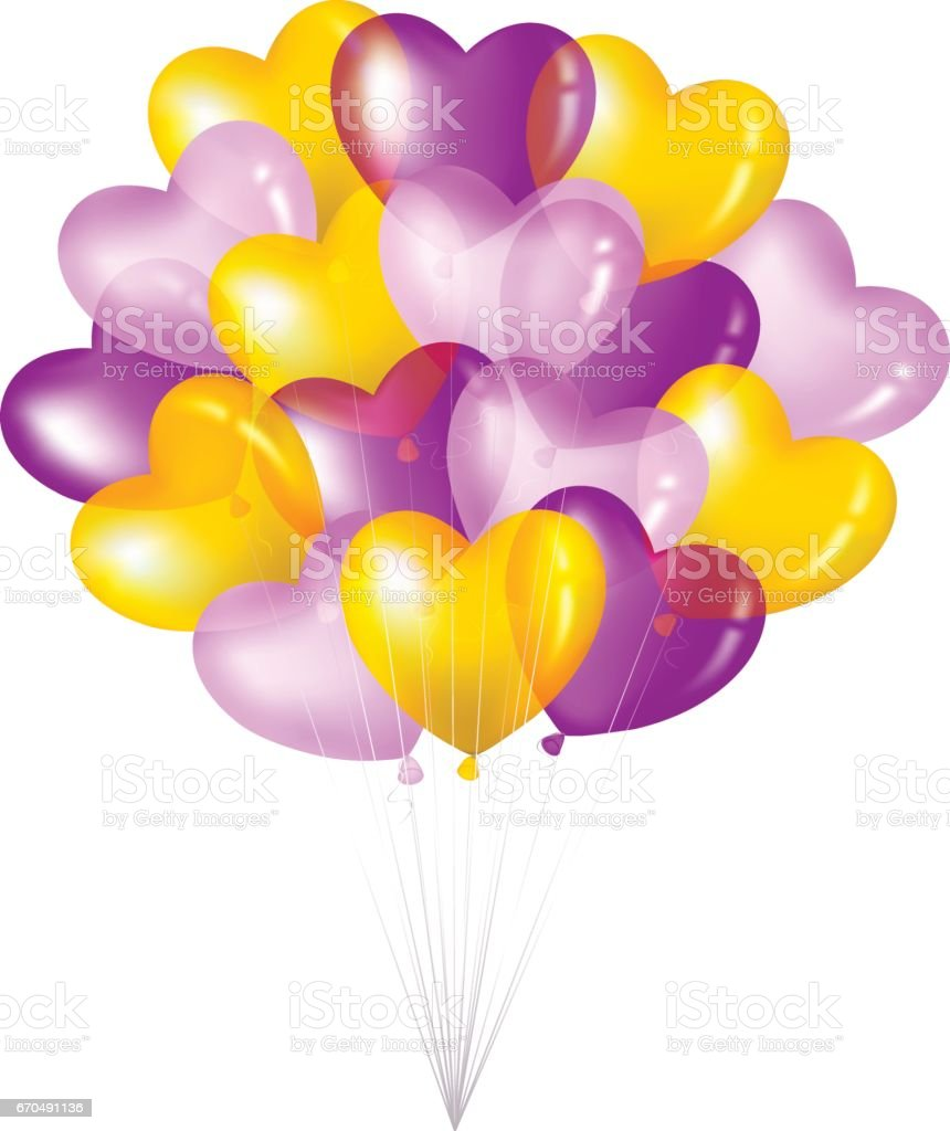 Bunch Of Colorful Heart Shape Balloons vector art illustration