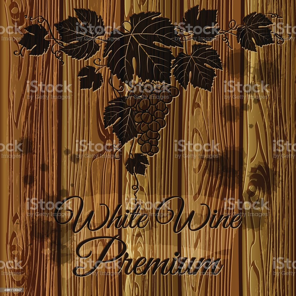 Bunch of grapes graven on a wood plank background vector art illustration