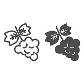 Bunch of grapes line and solid icon. Grapevine with leaf wine label outline style pictogram on white background. Winery and signs for mobile concept and web design. Vector graphics